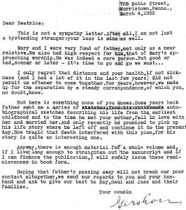 Letter from an unknown cousin Gershon to Beatrice, daughter of Abraham Auerbach after his death in 1963.