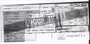 Receipt for the ticket on American Airlines flight 609 from New York to Chicago leaving LaGuardia at 8 a.m. on September 15, 1976. Group rate for Shklyanoy family of two adults and two children is $266.70. Purchased September 9, 1976.