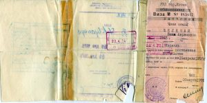 Front side of the exit visa from USSR issued on the March 26, 1976, by the Administration of the Ministry of Internal Affairs to Bena Avramovna Shklyanaya, born in 1945, for the purpose of permanent relocation to Israel. Valid to April 15, 1976 (the red stamp extends validity to April 22).