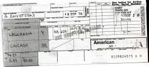 Receipt for the ticket on American Airlines flight 609 from New York to Chicago leaving LaGuardia at 8 a.m. on September 15, 1976. Group rate for S. Zhivotosky is $80.00 Purchased September 9, 1976.