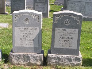 Philadelphia. Grave sites of Abraham Auerbach and Rose Auerbach.