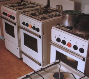 Multiple gas stove in a communal kitchen. Photo courtesy of Communal Living in Russia: A Virtual Museum of Soviet Everyday Life http://kommunalka.colgate.edu
