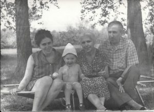 At dacha in village of Letki. Left to right: Bena Shklyanaya, Emily Shklyanoy, Rakhil Gnoyenskaya, Avram Babinsky. Year 1970.