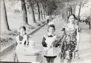 First day of first grade. Left to right: Emily and Polina (in the carriage) Shklyanaya, friend, Bena Shklyanaya. September 1, 1975.