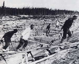Gulag: White Sea-Baltic Canal was the first major project in the Soviet Union accomplished by using prisoner labor. Photo from: https://en.wikipedia.org/wiki/Gulag