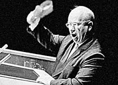 Khrushchev bangs his shoe during his speech at the U.N. Photo from: http://content.time.com/time/specials/packages/article/0,28804,1843506_1843505_1843496,00.html