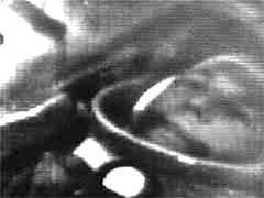 Yuri Gagarin on Vostok 1. This vision was shown on television after the launch. Photo from: https://en.wikipedia.org/wiki/Vostok_1.