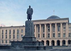 The 17-meter statue of Stalin in his native town of Gori, Georgia. Photo from: https://ru.wikipedia.org/wiki/Сталин,_Иосиф_Виссарионович