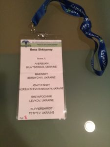 Bena Shklyanoy's badge from the 2016 Genealogical Conference in Seattle, Aug. 7 - 12. The badge displays the name and the names of ancestral towns and surnames.