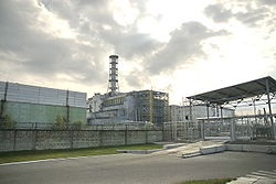 Chernobyl Nucleal Power Station. Reactor 4 with its enclosing sarcophagus. Photo from: https://en.wikipedia.org/wiki/Chernobyl_Nuclear_Power_Plant