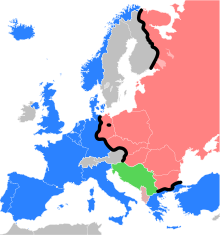 A map of Europe where the Iron Curtain is depicted as a black line. Photo from: https://en.wikipedia.org/wiki/Iron_Curtain