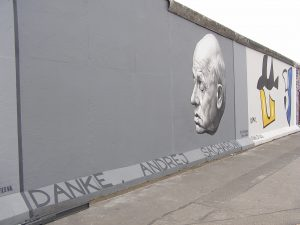 "Andrei Sakharov on the remnant of the Berlin Wall. Sign on the bottom, in German: ""Thank you, Andrei Sakharov."" Year 2009."
